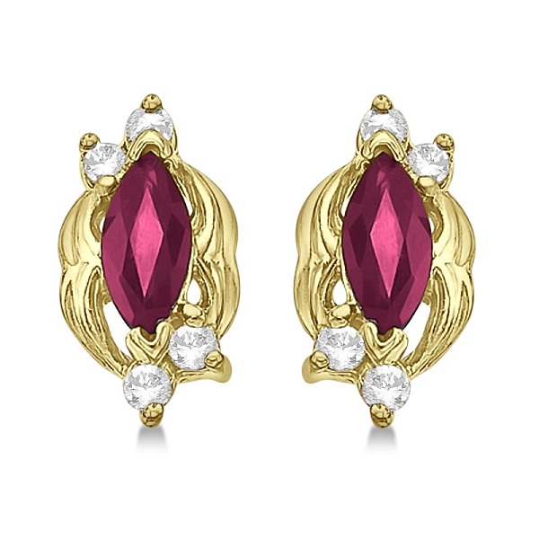 Marquise Ruby & Diamond Stud Earrings in 14K Yellow Gold (0.62ct)
