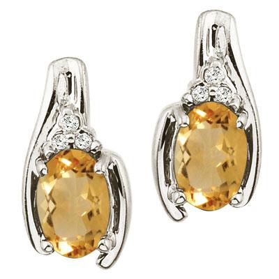 Oval Citrine and Diamond Earrings 14K White Gold (1.03ctw)