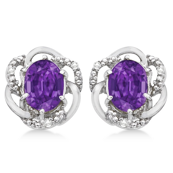 Oval Purple Amethyst & Diamond Earrings in 14K White Gold (3.05ct)