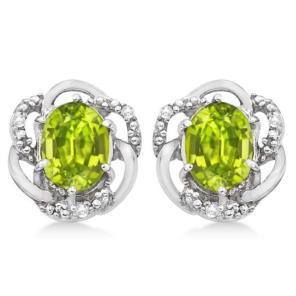 Oval Green Peridot & Diamond Stud Earrings in 14K White Gold (3.05ct)
