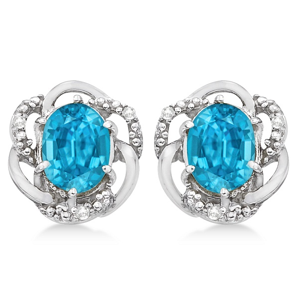 Oval Shaped Blue Topaz & Diamond Earrings in 14K White Gold (3.05ct)