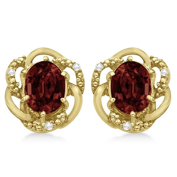 Oval Shaped Red Garnet & Diamond Earrings in 14K Yellow Gold (3.05ct)
