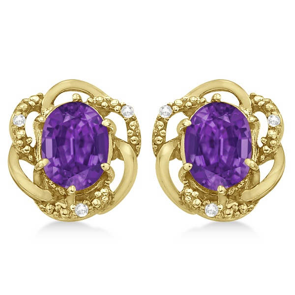 Oval Purple Amethyst & Diamond Earrings in 14K Yellow Gold (3.05ct)