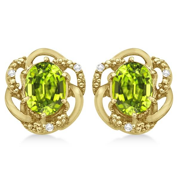 Oval Green Peridot & Diamond Stud Earrings in 14K Yellow Gold (3.05ct)