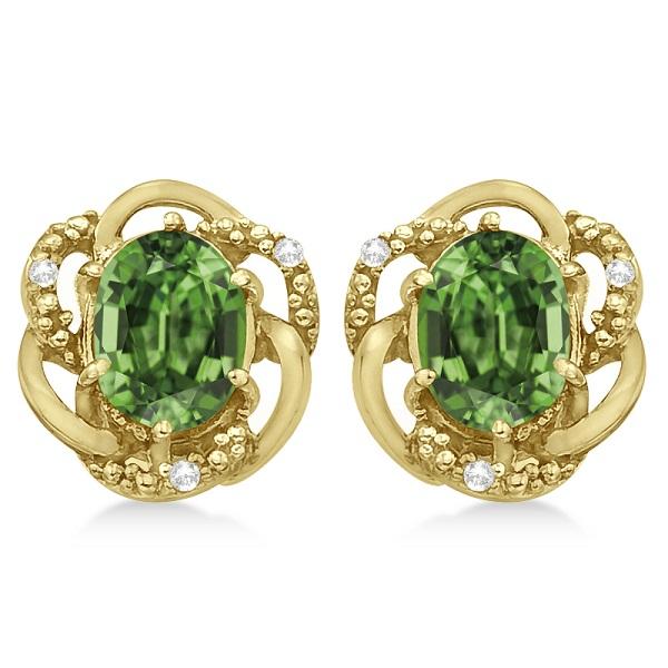 Oval Green Amethyst & Diamond Earrings in 14K Yellow Gold (3.05ct)
