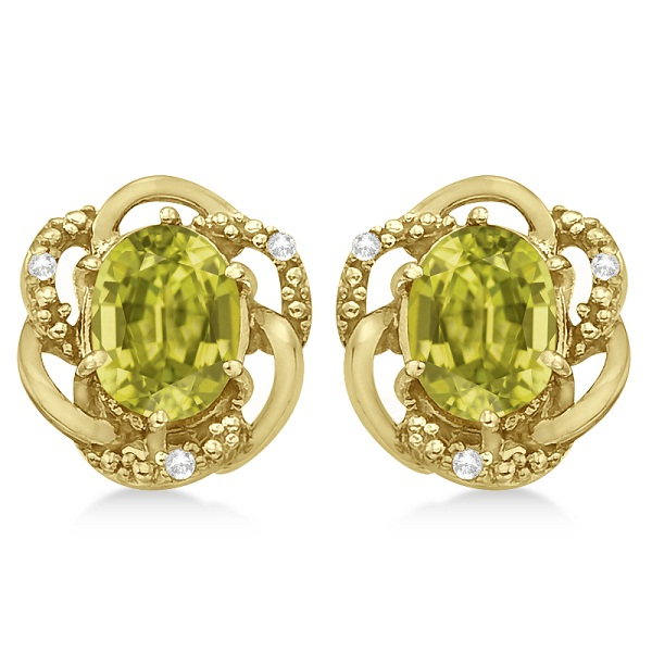 Oval Lemon Quartz & Diamond Earrings in 14K Yellow Gold (3.05ct)
