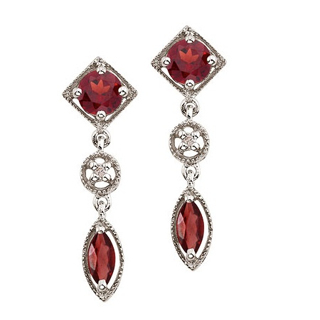 Round & Marquise Garnet and Diamond Dangling Earrings 14K White Gold