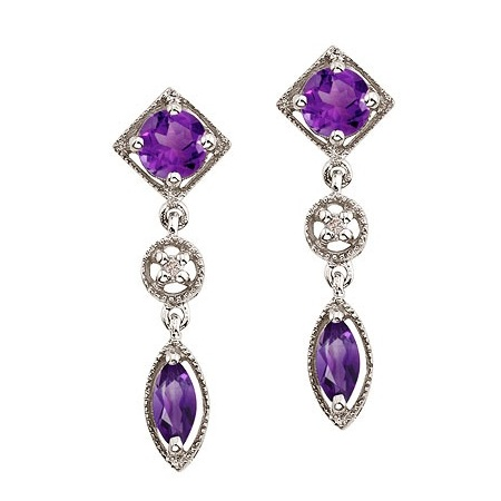 Round & Marquise Amethyst and Diamond Dangling Earrings 14K White Gold