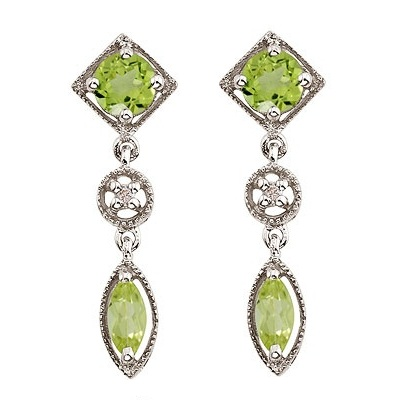 Round & Marquise Peridot and Diamond Dangling Earrings 14K White Gold