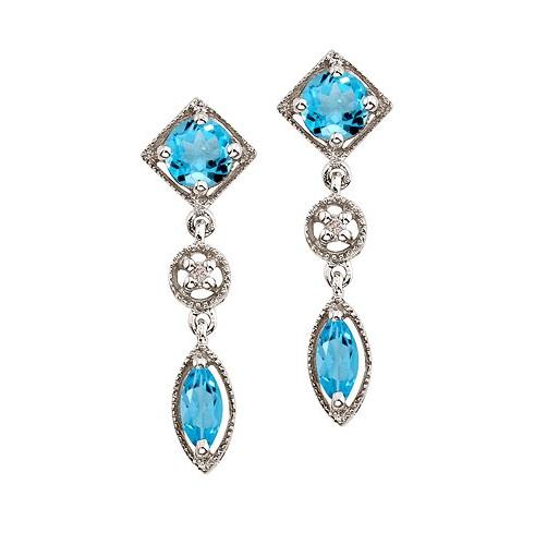 Round & Marquise Blue Topaz & Diamond Dangling Earrings 14K White Gold