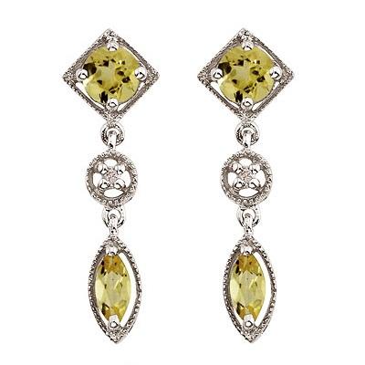 Round & Marquise Lemon Quartz & Diamond Drop Earrings 14K White Gold