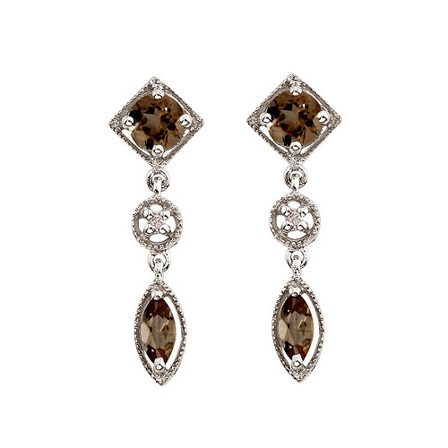 Round & Marquise Smoky Topaz & Diamond Dangling Earrings 14K White Gold