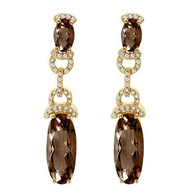 Oval Smoky Topaz & Diamond Dangle Earrings 14k Yellow Gold (10.30ct)
