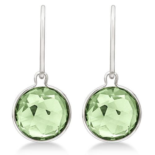Checker Green Amethyst Wire Drop Earrings 14k White Gold (6.00ct)