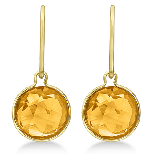 Double Checker Citrine Wire Drop Earrings 14k Yellow Gold (6.00ct)