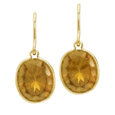 Bezel-Set Oval Citrine Wire Drop Earrings 14k Yellow Gold
