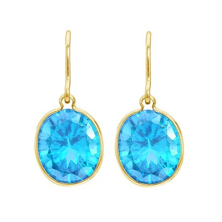 Bezel-Set Oval Blue Topaz Wire Drop Earrings 14k Yellow Gold (12x10mm)