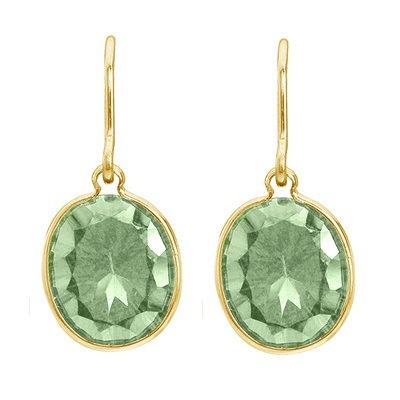 Bezel Oval Green Amethyst Wire Drop Earrings 14k Yellow Gold (12x10mm)