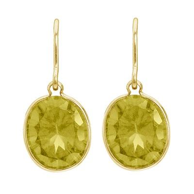 Bezel-Set Oval Lemon Quartz Wire Drop Earrings 14k Yellow Gold 12x10mm