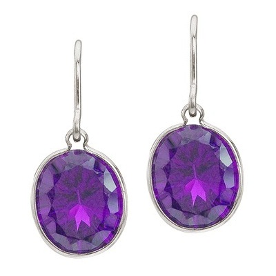 Bezel-Set Oval Amethyst Wire Drop Earrings 14k White Gold (12x10mm)