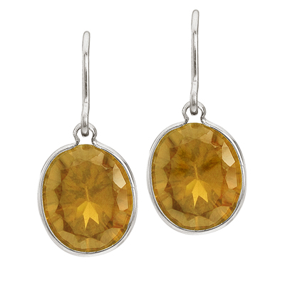 Bezel-Set Oval Citrine Wire Drop Earrings 14k White Gold