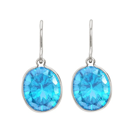 Bezel-Set Oval Blue Topaz Wire Drop Earrings 14k White Gold (12x10mm)