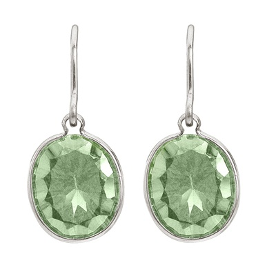 Bezel Oval Green Amethyst Wire Drop Earrings 14k White Gold (12x10mm)