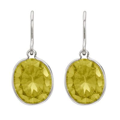 Bezel-Set Oval Lemon Quartz Wire Drop Earrings 14k White Gold (12x10mm)