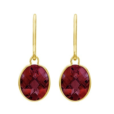 Concave Checker Oval Garnet Wrap Drop Earrings 14K Yellow Gold (10x8mm)