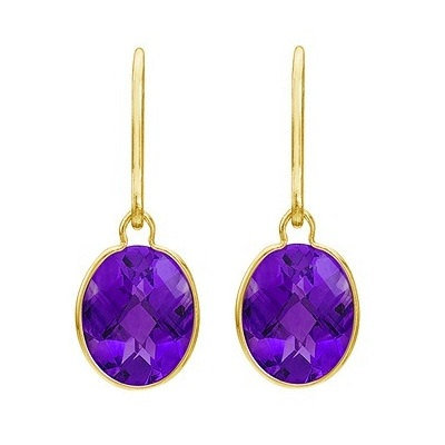 Concave Checker Oval Amethyst Wrap Drop Earrings 14K Yellow Gold (10x8mm)