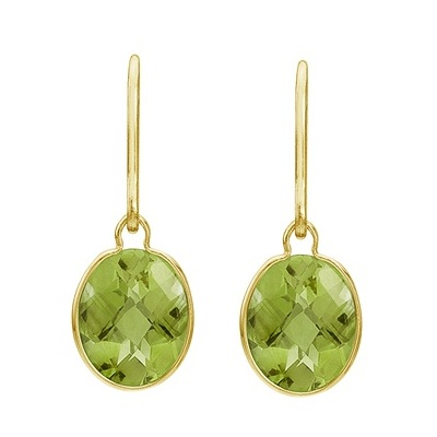 Concave Checker Oval Peridot Wrap Drop Earrings 14K Yellow Gold (10x8mm)