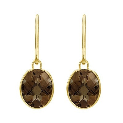 Concave Checker Oval Smoky Topaz Drop Earrings 14K Yellow Gold (10x8mm)