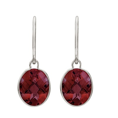 Concave Checker Oval Garnet Wrap Drop Earrings 14K White Gold (10x8mm)