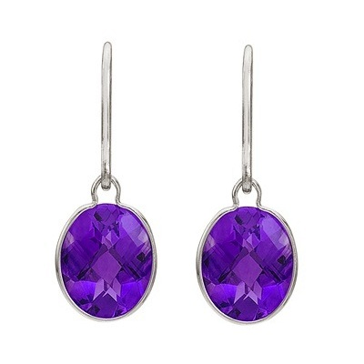 Concave Checker Oval Amethyst Wrap Drop Earrings 14K White Gold (10x8mm)