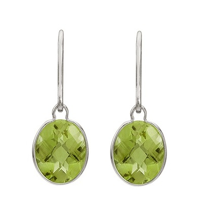 Concave Checker Oval Peridot Wrap Drop Earrings 14K White Gold (10x8mm)