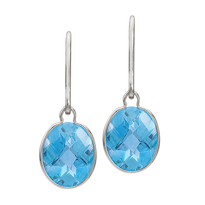 Concave Checker Oval Blue Topaz Wrap Drop Earrings 14K White Gold