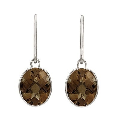 Concave Checker Oval Smoky Topaz Drop Earrings 14K White Gold (10x8mm)