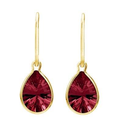 Pear Shape Garnet Dangle Wire Wrap Earrings 14K Yellow Gold (10x7mm)