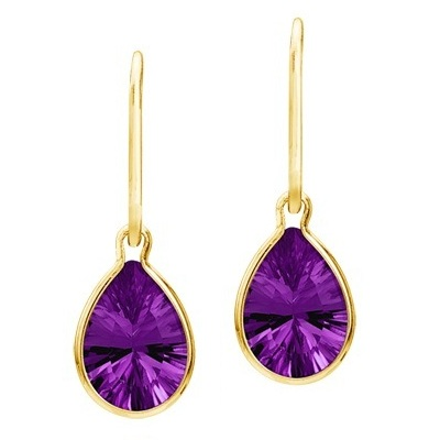 Pear Shape Amethyst Dangle Wire Wrap Earrings 14K Yellow Gold (10x7mm)