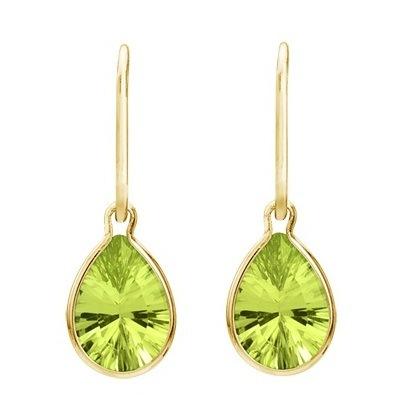 Pear Shape Peridot Dangle Wire Wrap Earrings 14K Yellow Gold (10x7mm)