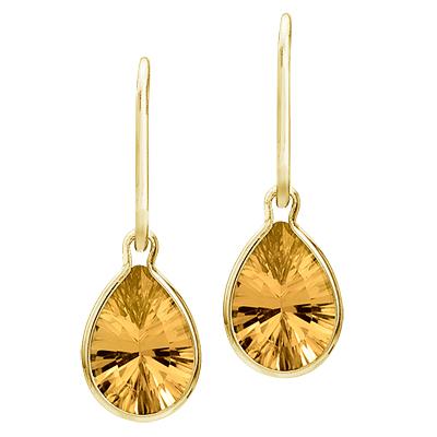 Bezel-Set Pear Citrine Dangling Earrings 14K Yellow Gold (10x7mm)