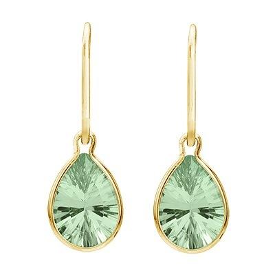 Pear Green Amethyst Drop Wire Wrap Earrings 14K Yellow Gold (10x7mm)