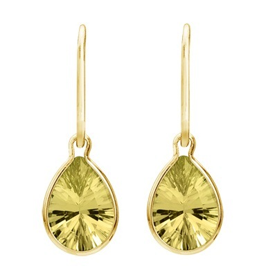 Pear Lemon Quartz Dangling Wire Wrap Earrings 14K Yellow Gold (10x7mm)