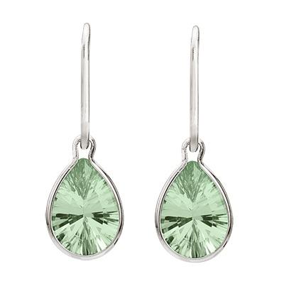 Pear Green Amethyst Drop Wire Wrap Earrings 14K White Gold (10x7mm)
