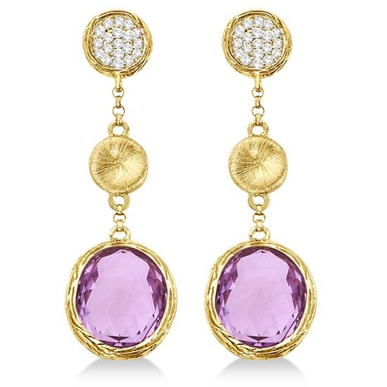 Amethyst & Diamond Dangle Drop Earrings 14k Yellow Gold (10.25ct)