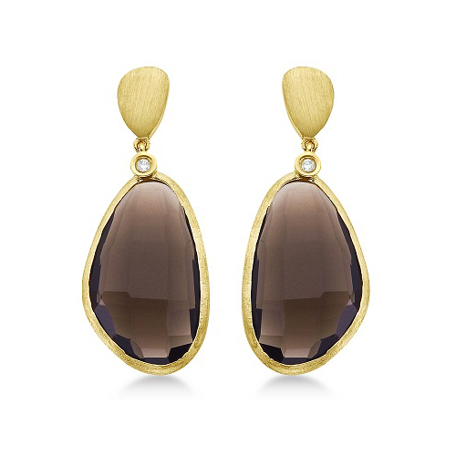 Smokey Topaz & Diamond Bezel Dangle Earrings 14k Yellow Gold (20.05ctw)
