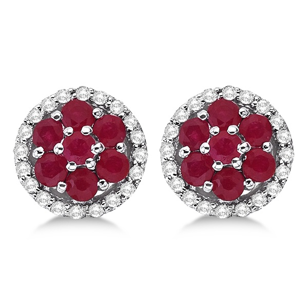 Ruby & Diamond Cluster Flower Shaped Earrings 14k White Gold (0.90ct)