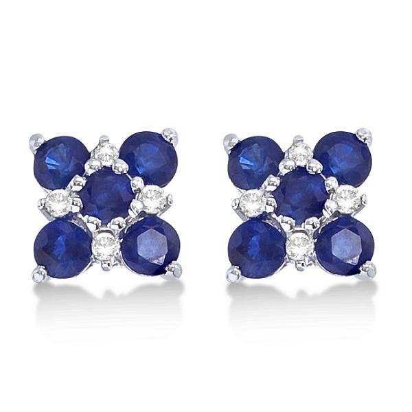 Blue Sapphire & Diamond Flower Earrings 14k White Gold (1.30ct)