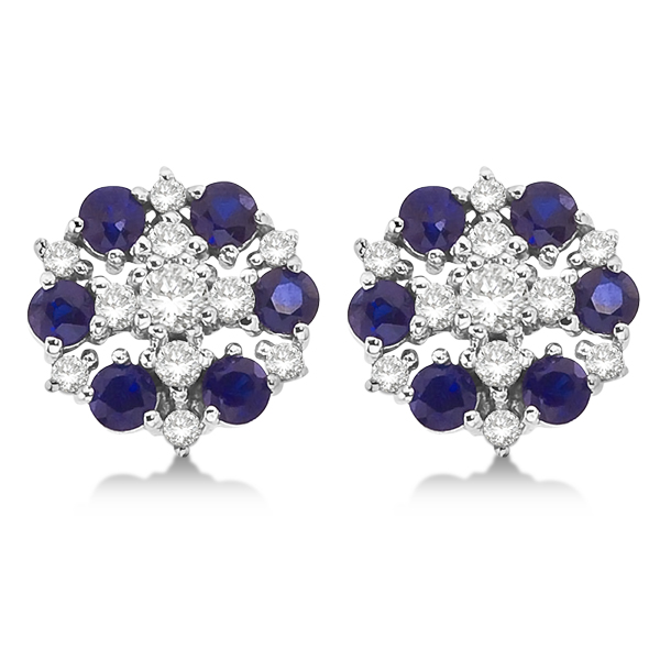 Diamond & Blue Sapphire Large Cluster Earrings 14k White Gold (1.60ct)