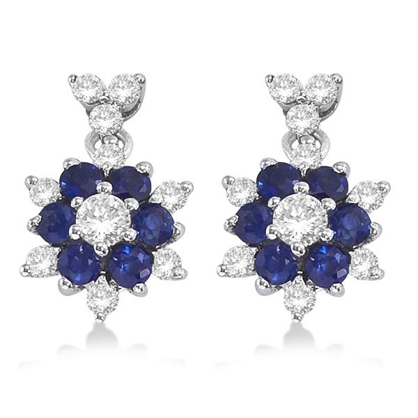 Diamond & Sapphire Cluster Dangling Earrings 14k White Gold (0.70ct)